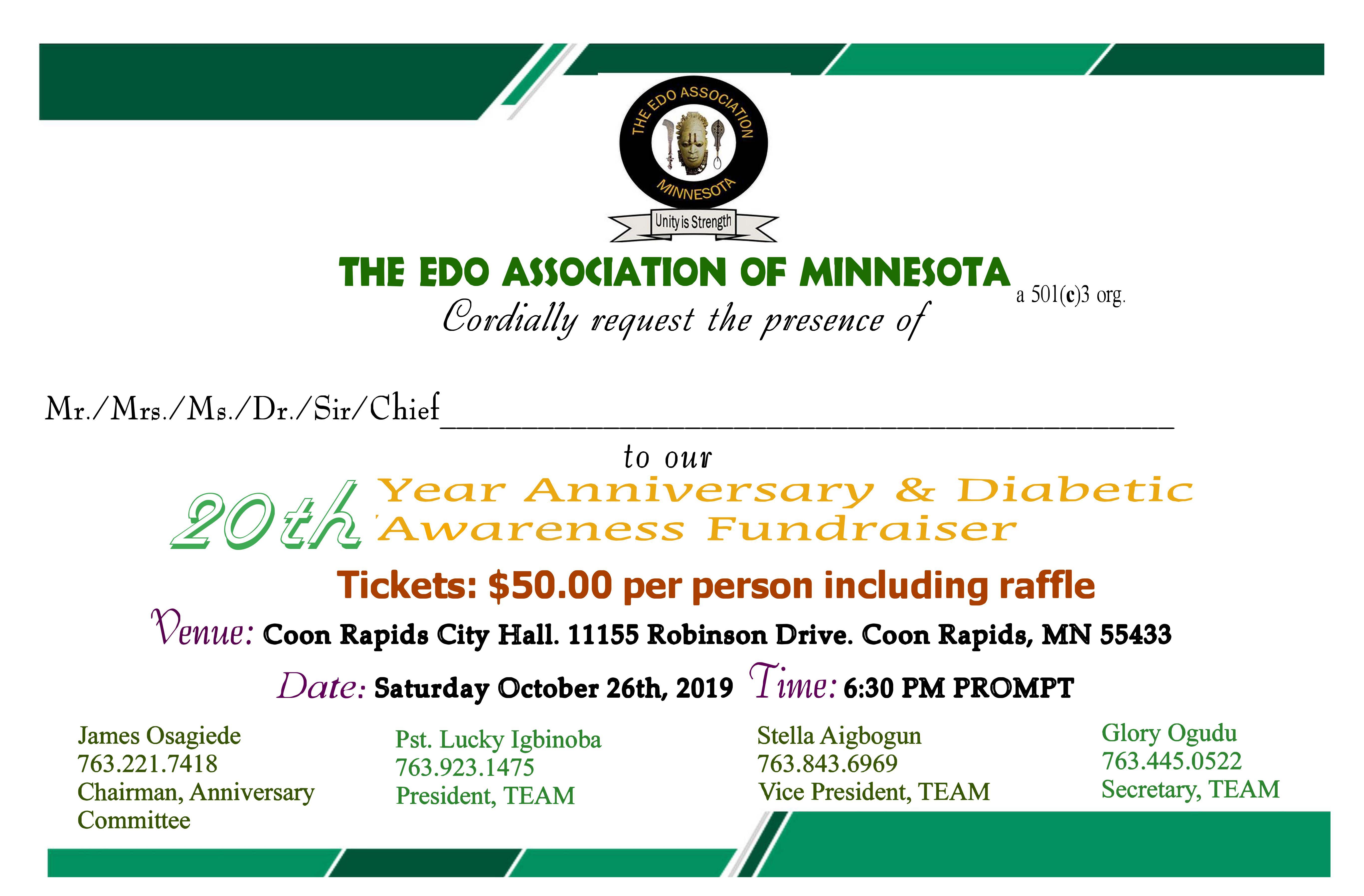 20th Invitation Card