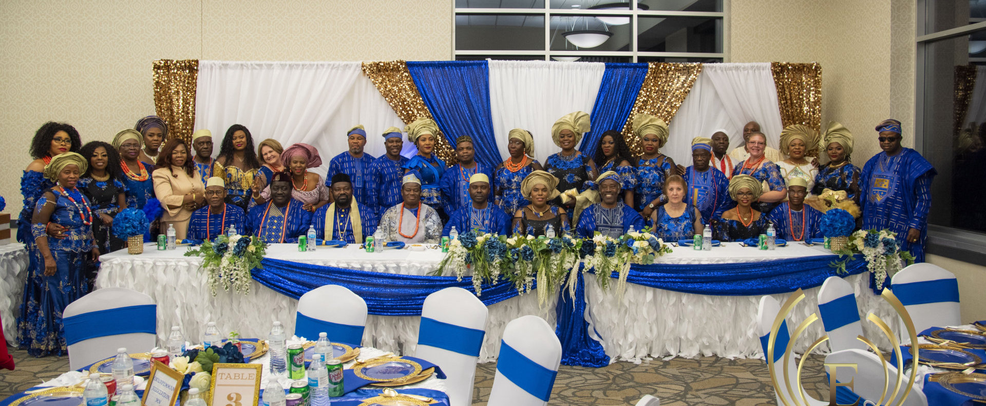 congregation wearing traditional outfit
